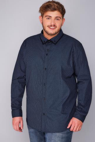 BadRhino Navy Micro Print Smart Shirt With Double Collar - TALL