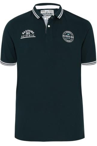BadRhino Navy Polo Shirt With Badges & Tipped Collar - TALL
