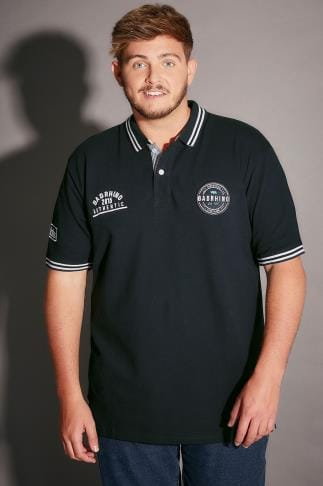 Polo Shirts BadRhino Navy Polo Shirt With Badges & Tipped Collar - TALL 200131