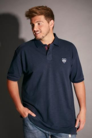 Tall Polo Shirts BadRhino Navy Polo Shirt With Chest Badge - TALL 200112