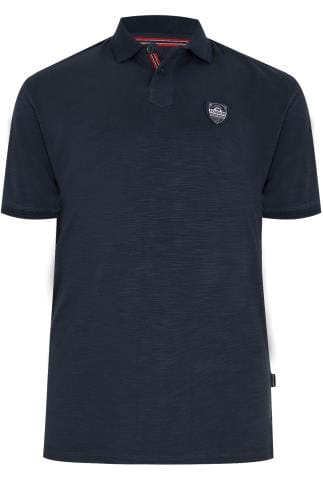 BadRhino Navy Polo Shirt With Chest Badge - TALL