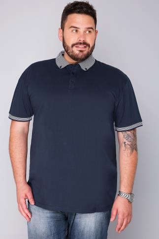 BadRhino Navy Short Sleeve Stripe Collar Polo Shirt