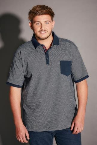 Polo Shirts BadRhino Navy Stripe Polo Shirt With Contrast Collar & Pocket 200098