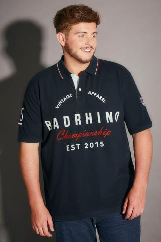 Polo Shirts BadRhino Navy Vintage Varsity Slogan Polo Shirt With Tipped Collar - TALL 200135