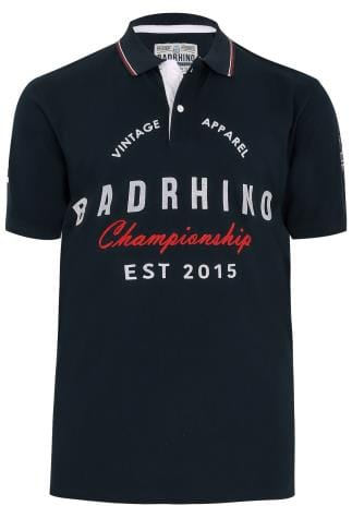 BadRhino Navy Vintage Varsity Slogan Polo Shirt With Tipped Collar - TALL