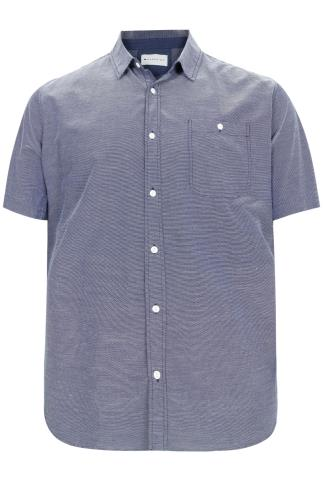 BadRhino Navy & White Stitch Detail Short Sleeve Shirt