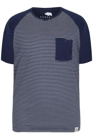 BadRhino Navy & White Stripe T-Shirt With Contrast Raglan Sleeves