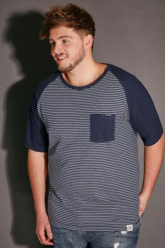 T-Shirts BadRhino Navy & White Stripe T-Shirt With Contrast Raglan Sleeves 110281