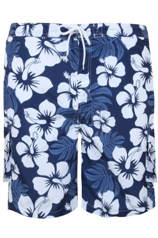 BadRhino Navy & White Tropical Print Shorts