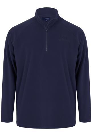 BadRhino Navy Zip Neck Micro Fleece - TALL