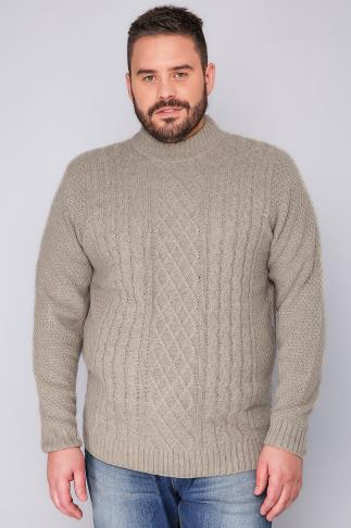 Jumpers BadRhino Oatmeal Crew Neck Cable Knit Sweater 101953