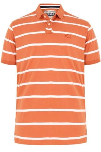 BadRhino Orange Wide Stripe Polo Shirt