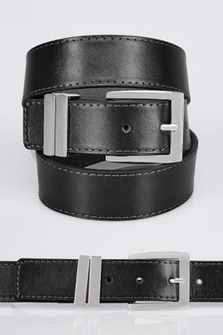 Belts & Braces BadRhino Plain Black Bonded Leather Jean Belt 110439