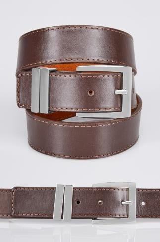 Belts & Braces BadRhino Plain Brown Bonded Leather Jean Belt 110441