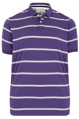 BadRhino Purple Double Stripe Polo Shirt - TALL