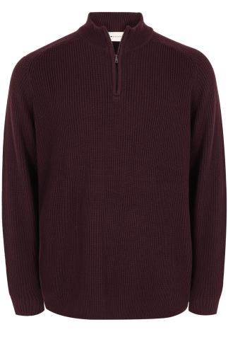 BadRhino Wine Knitted Jumper With Zip Funnel Neck - TALL