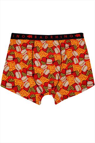 BadRhino Red Burger & Fries 'King Size' Print Boxers