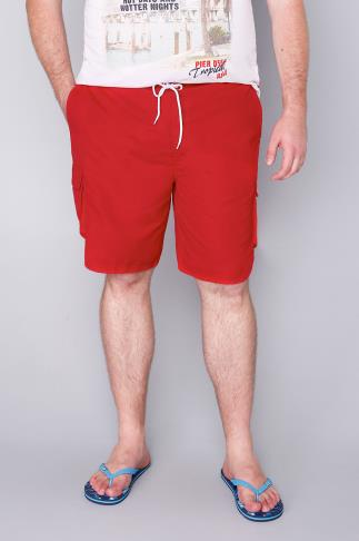 BadRhino Red Cargo Swim Shorts