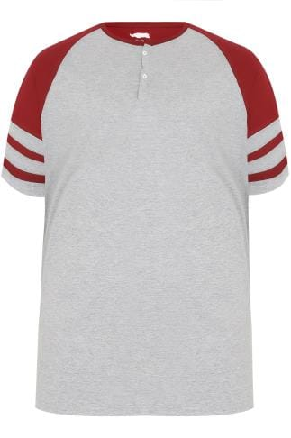 T-Shirts BadRhino Red & Grey Marl Baseball Stripe Sleeve T-Shirt With Button Detail 200106