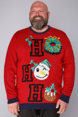 "Jumpers BadRhino Red ""Ho Ho Ho"" Novelty Christmas Jumper 101774"