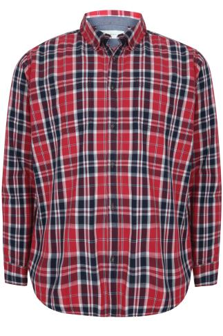 BadRhino Red & Navy Checked Long Sleeved Shirt