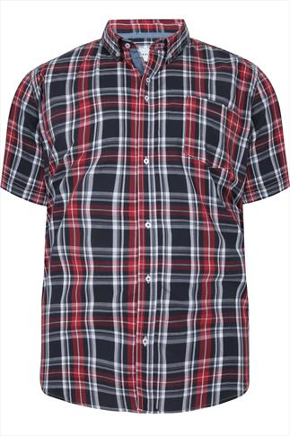 BadRhino Red & Navy Checked Short Sleeved Shirt - TALL