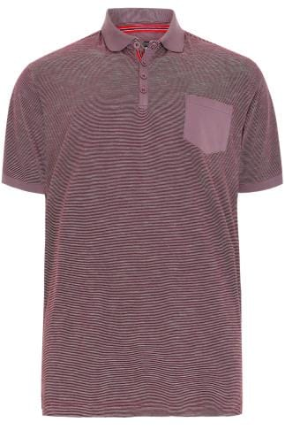 BadRhino Red Stripe Polo Shirt With Contrast Collar & Pocket - TALL