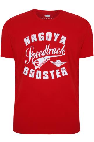 BadRhino Red & White  'NAGOYA' Printed Crew Neck T-Shirt