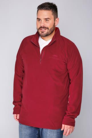 Fleece BadRhino Red Zip Neck Micro Fleece - TALL 110109