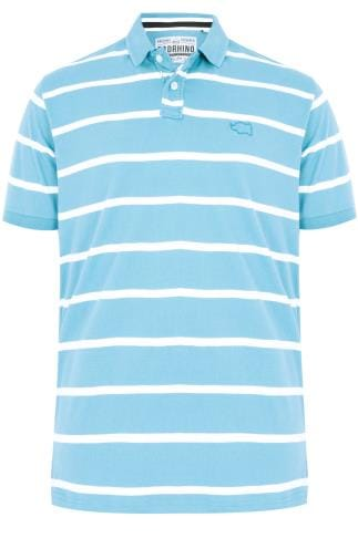 BadRhino Sky Blue Wide Stripe Polo Shirt