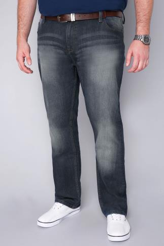 BadRhino Stone Wash Denim Straight Leg Stretch Jeans - TALL