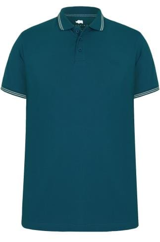BadRhino Teal Blue Polo Shirt With White Stripe Detail - TALL