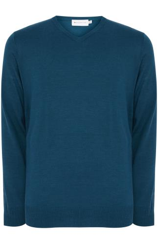 BadRhino Teal Fine Knit V Neck Jumper
