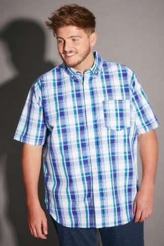 Smart Shirts BadRhino Turquoise & White Large Grid Check Short Sleeve Shirt - TALL 200180