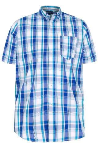BadRhino Turquoise & White Large Grid Check Short Sleeve Shirt - TALL