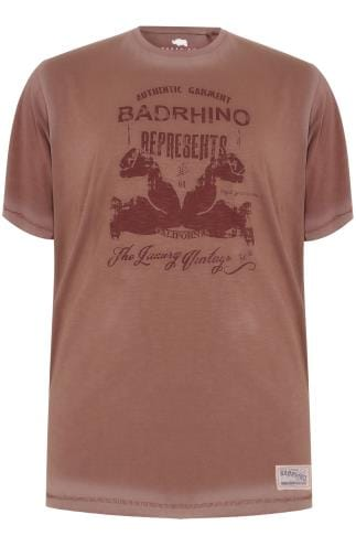 BadRhino Vintage Red California Slogan T-Shirt -TALL