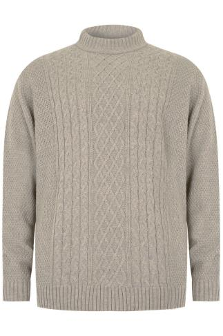 BadRhino Oatmeal Crew Neck Cable Knit Sweater