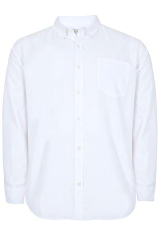 BadRhino White Cotton Long Sleeved Oxford Shirt - TALL