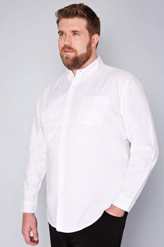 BadRhino White Cotton Long Sleeved Oxford Shirt