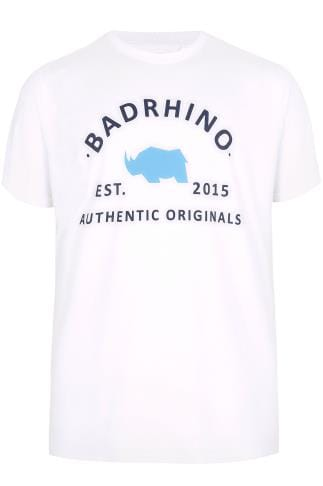 BadRhino White Crew Neck Logo T-Shirt - TALL