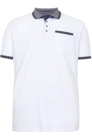 BadRhino White Short Sleeve Polo Shirt With Black Pique Collar