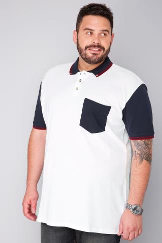 BadRhino White Short Sleeve Polo Shirt With Navy Button Down Collar