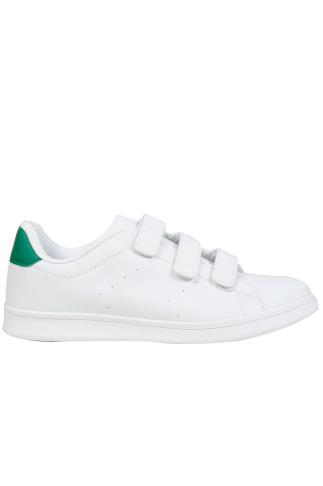 White Trainers With Adjustable Straps Green Heel Detail