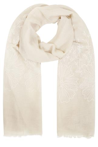 Scarves Beige Floral Embroidered Scarf 152071
