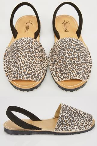 Wide Fit Sandals Beige Real Leather Leopard Print Peep Toe Sandals In E Fit 053221
