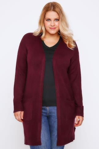 Berry Boucle Longline Cardigan With Pockets