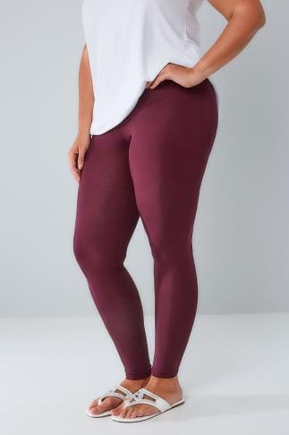 Basic Leggings Berry Viscose Elastane Leggings With Elasticated Waist 142050