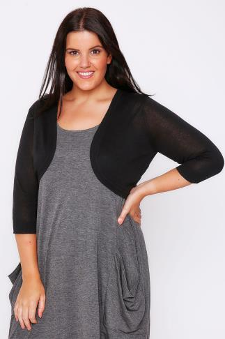 Black 3/4 Sleeve Curved Hem Fine Knit Shrug 046921