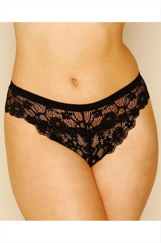 Black All Lace Thong 100209