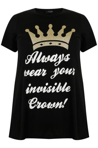 "Black ""Always Wear Your Invisible Crown"" Short Sleeve T-shirt"